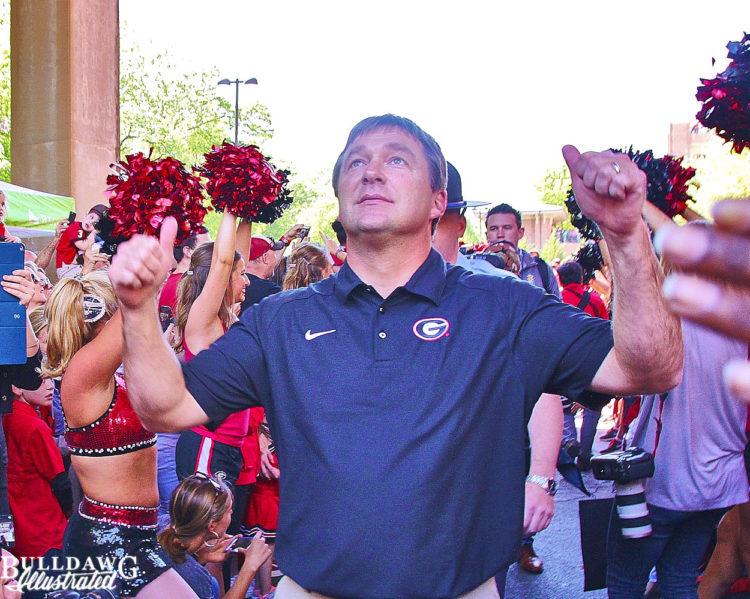 Kirby reacts to seeing Sanford Stadium - Dawg Walk - G-Day - 4-16-16 - Rob Saye Copyright (1) 1