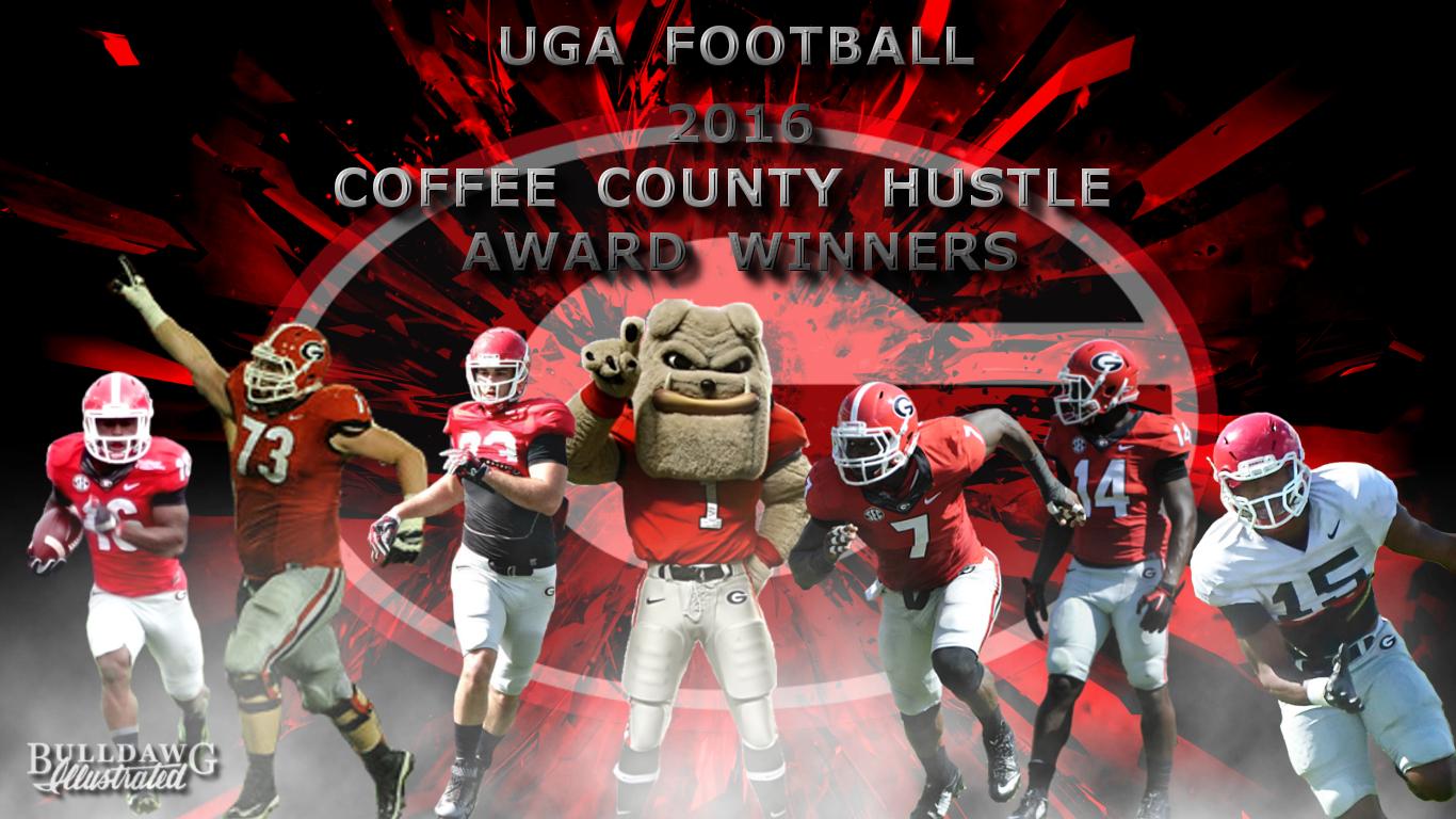 UGA's 2016 Coffee County Hustle Award Winners - (Offense on left) No.16 Isaiah McKenzie, No.73 Greg Pyke, No.83 Jeb Blazevich (Defense on right) No.7 Lorenzo Carter, No.14 Malkom Parrish, No.15 D'Andre Walker (edit by Bob Miller)