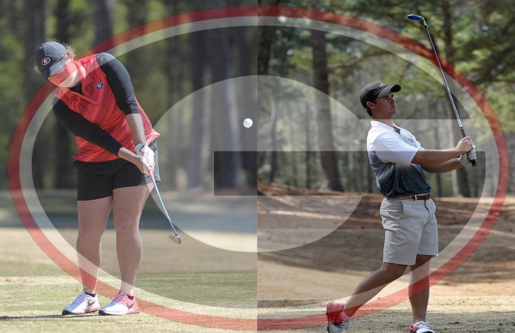 Sylvie Brick (on left) and Jack Larkin, Jr. (on right) 2015 - 2016 UGA Golf Team (photo courtesy of University of Georgia)