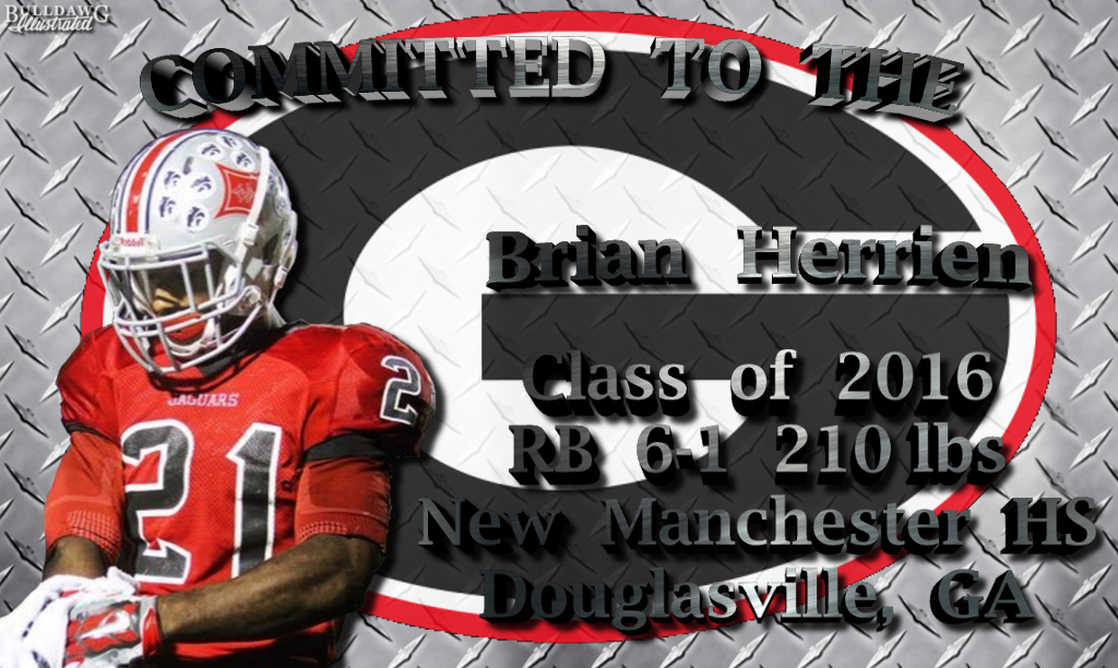 Brian Herrien Georgia Bulldogs Football Jersey Black
