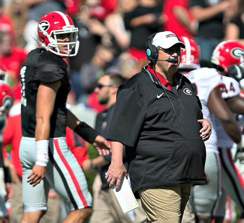 Georgia Offensive Coordinator, Jim Chaney - G-Day 2016 (Photo by Chris Collins)
