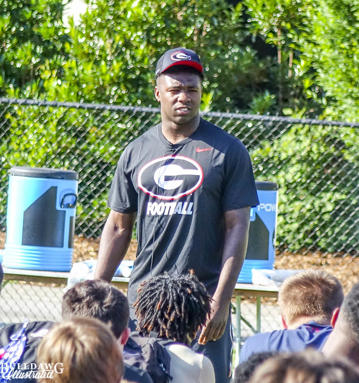 Roquan Smith addresses campers at Kirby Smart Varsity Overnight Camp