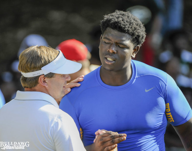 D'Antne Demery greeted by Kirby Smart prior to Kirby Smart Camp in Athens