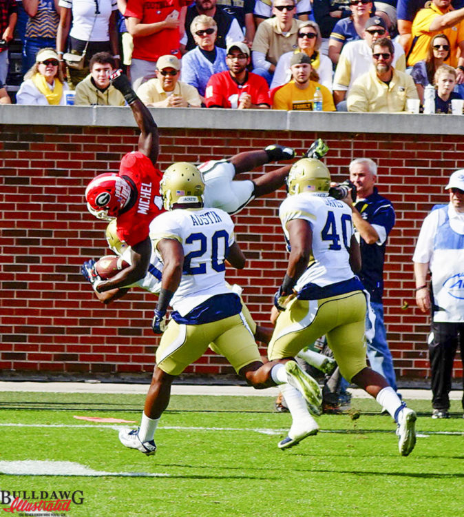 Sony Michel flips at the tech 10 yard line – 2015