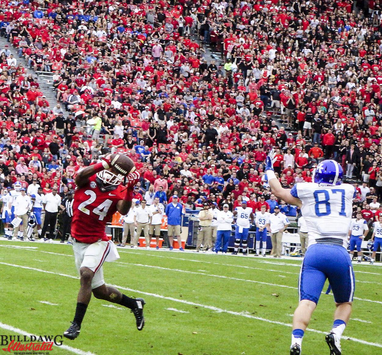 Dominick Sanders grabs an interception vs. Kentucky 2015