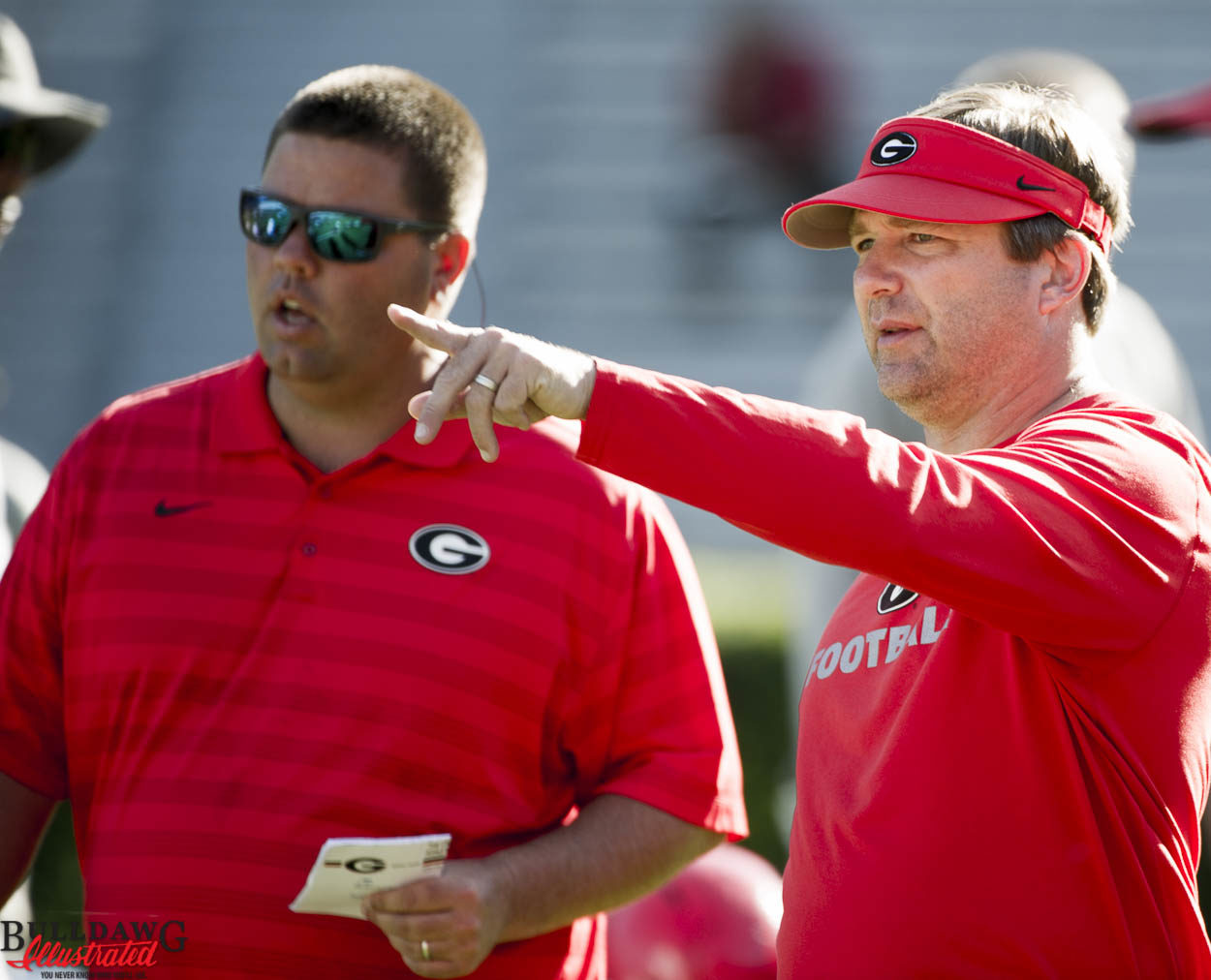Kirby Smart and Josh Lee, Director of Football Operations