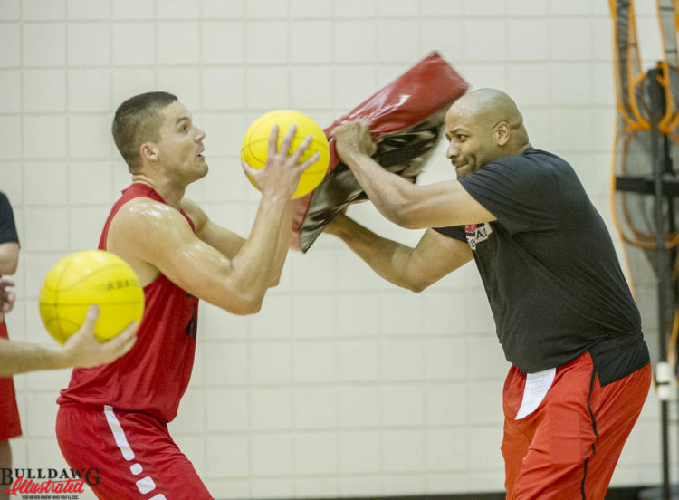 UGA basketball uses a similar drill to football to focus on ball security