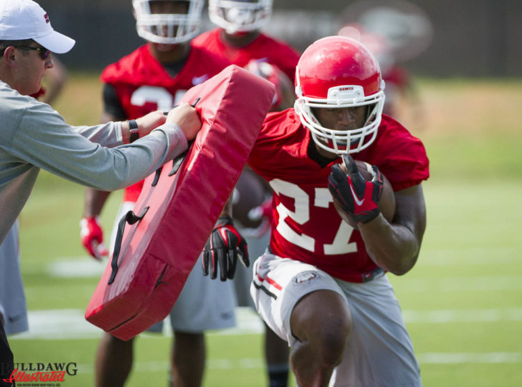 Nick Chubb during ball security drill