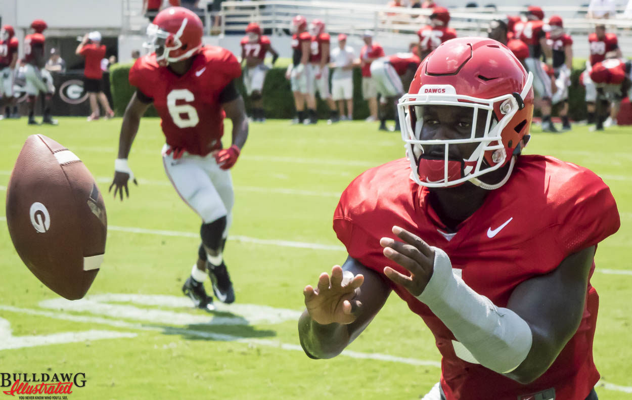 Sony Michel concentrates on the ball