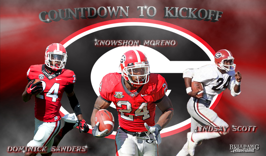 (Photos of Dominick Sanders, Knowshon Moreno, and Lindsay Scott courtesy of UGA) (edit by Bob Miller)