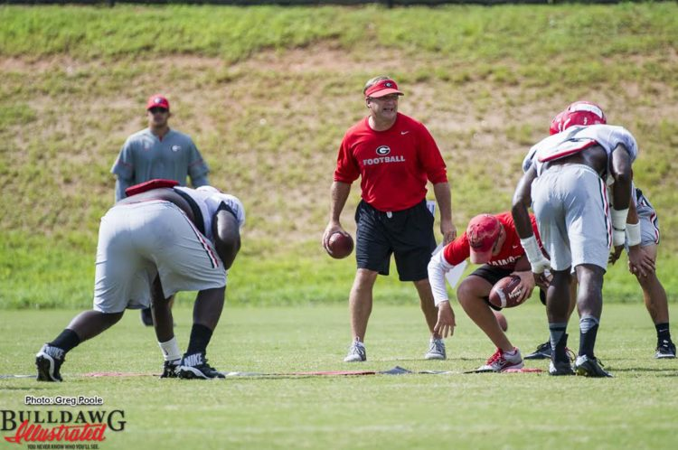 Kirby Smart during Thursday afternoon's practice on 08-18-2016