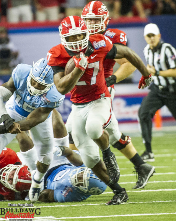 Nick Chubb breaks into open field on his game changing touchdown run