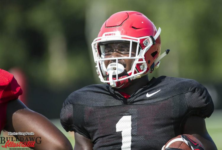 Sony Michel still in noncontact jersey - September 7, 2016