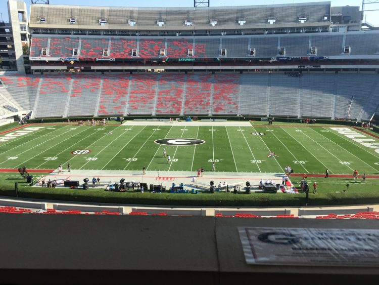 A view from the press box of Sanford Stadium