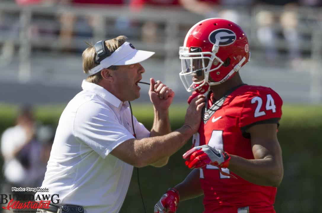 Kirby Smart has a talk with Dominick Sanders