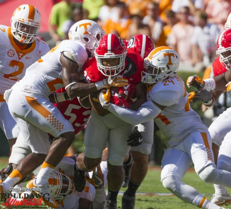 Brian Herrien dragging Tennessee defenders for extra yardage
