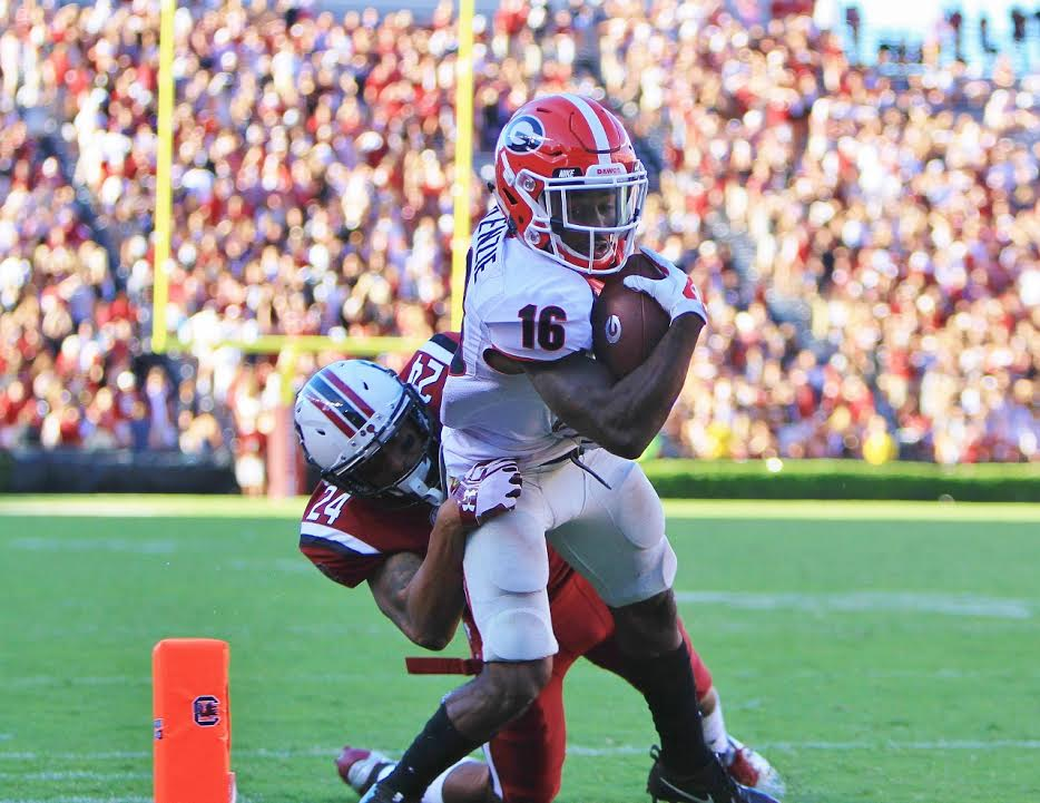 Isaiah McKenzie with a 6 yard TD reception in the 4th quarter vs South Carolina (photo by Rob Saye)