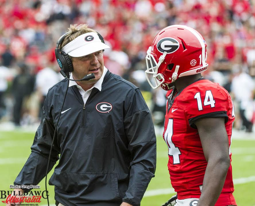 Kirby Smart having a converstation with Malkom Parrish (14)