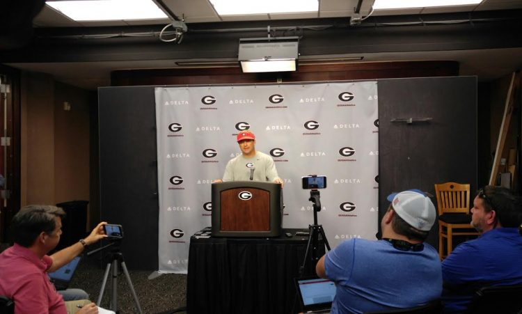 Kirby Smart post-practice Tuesday press conference (photo by Greg Poole)
