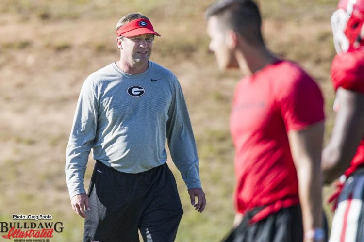 Kirby Smart looks on as the team practices on Tuesday afternoon