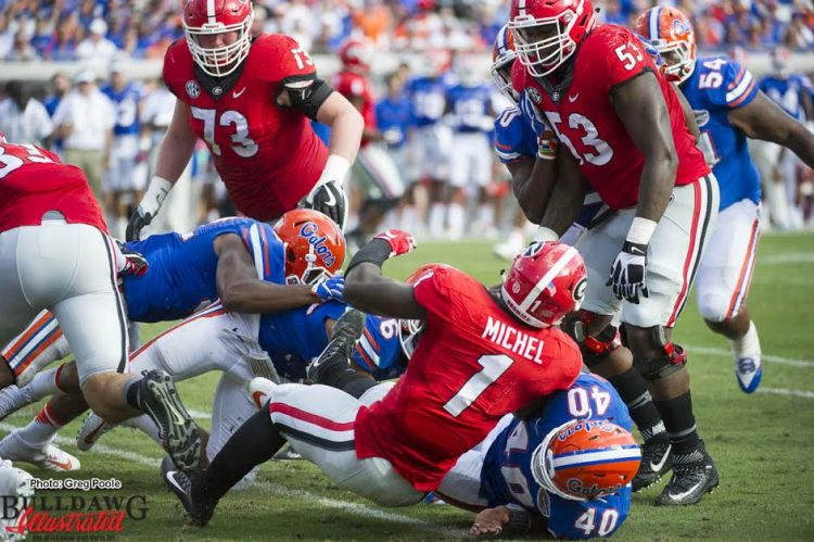 No room to run for Sony Michel against Florida's defense