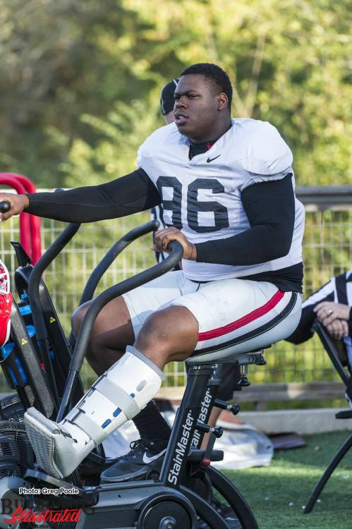 DaQuan Hawkins-Muckle in a boot and on a bike during Tuesday's practice