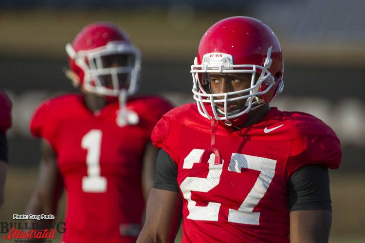 Sony Michel (1) and Nick Chubb (27)