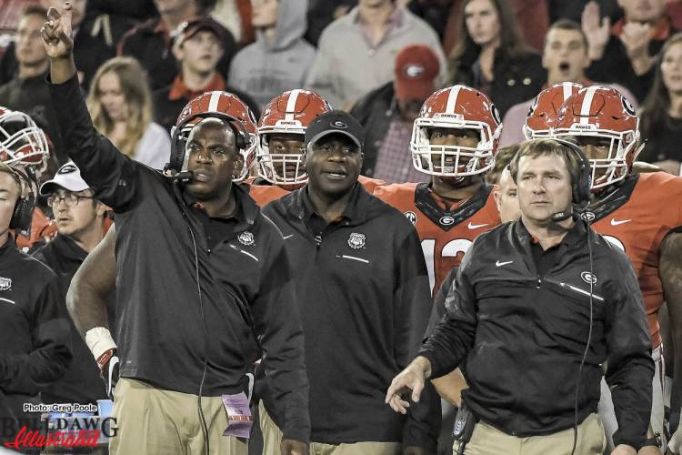 Mel Tucker (left) and Kirby Smart (right) - Georgia vs Auburn 12-Nov-2016