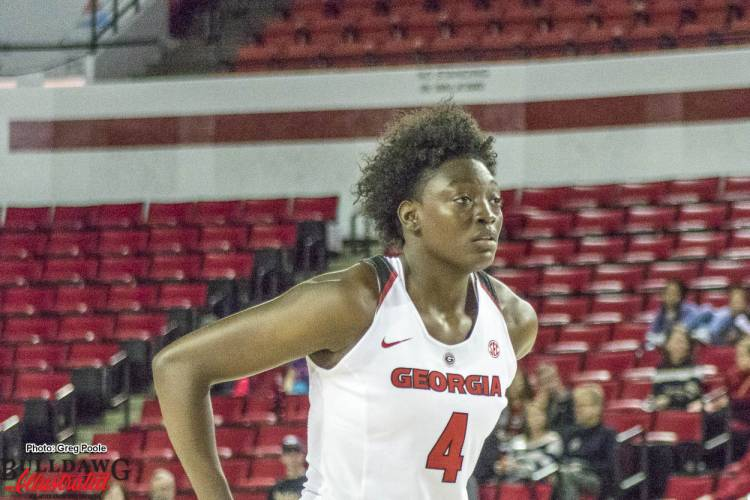 Sophomore Caliya Robinson played a pivotal role in the Lady Dogs victory over the Mercer Bears