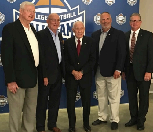 BILL STANFILL, JAKE SCOTT, CHARLEY TRIPPI, SCOTT WOERNER AND KEVIN BUTLER AT THE COLLEGE HALL OF FAME EVENT IN SEPTEMBER