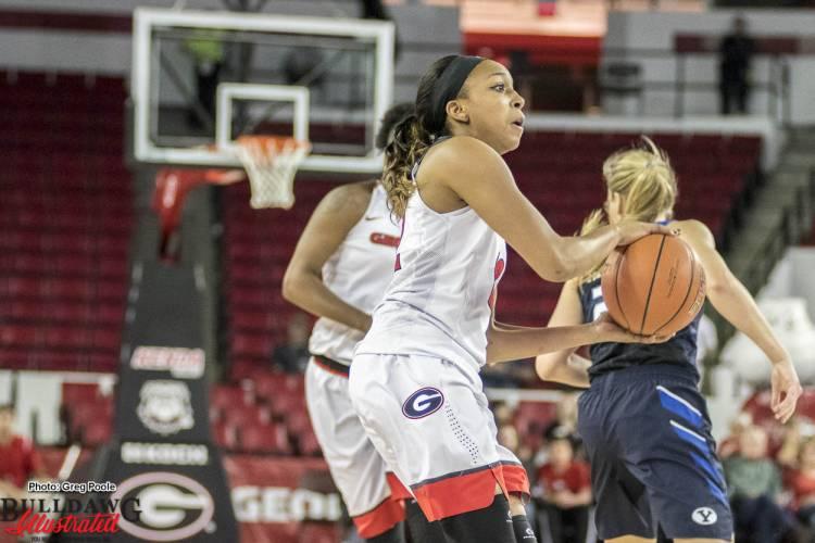 Haley Clark prepares to take a shot vs. BYU - November 16, 2016