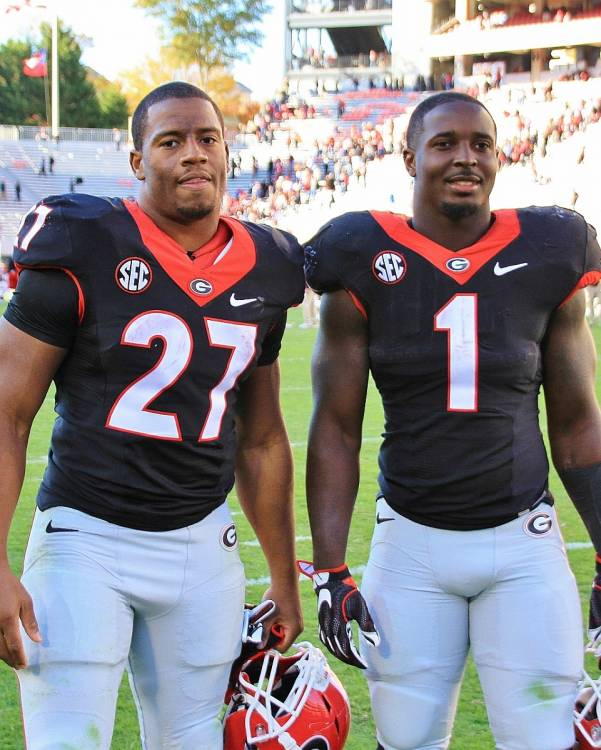 Nick Chubb and Sony Michel (Photo by Rob Saye)