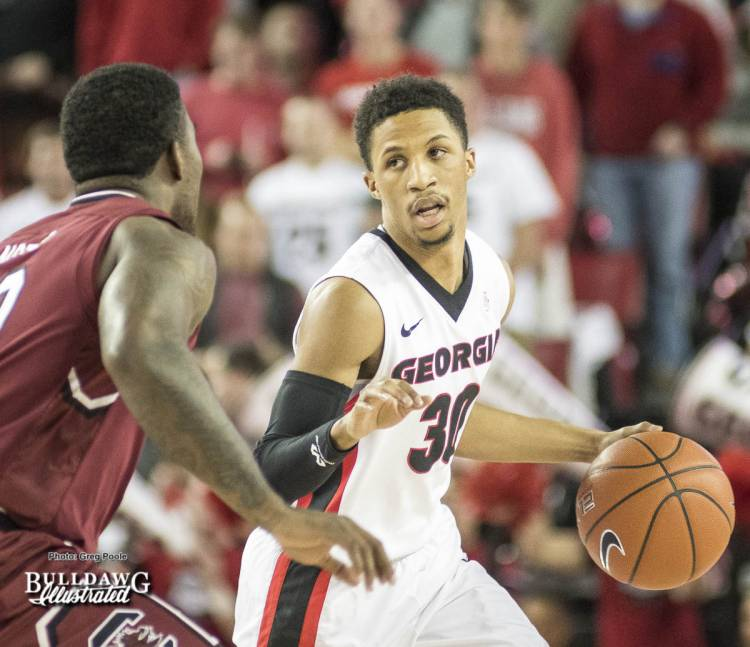 J.J. Frazier calls a play during the South Carolina game.