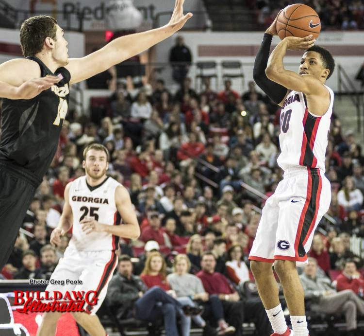J.J. Frazier takes a jump shot during the Bulldog's basketball game versus Missouri on Saturday afternoon.