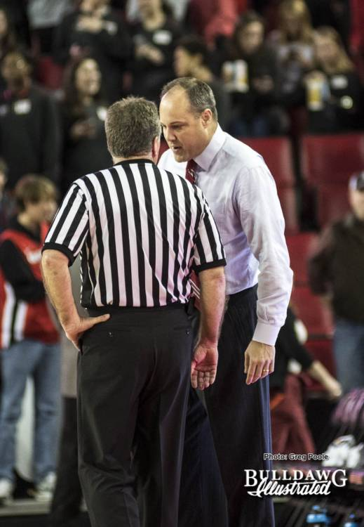 Mark Fox talks with referee after first-half endings scuffle– Georgia vs. Missouri  January 7, 2017