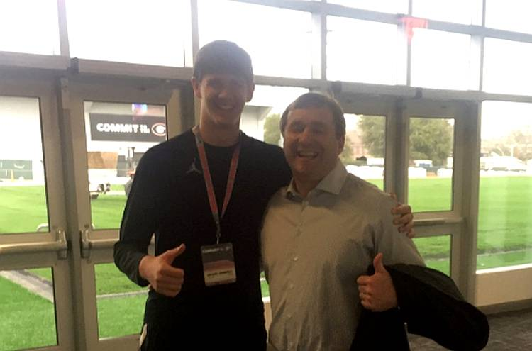 Grant Gunnell (left) with Georgia Head Coach Kirby Smart (right) (photo from Grant Gunnell - Twitter)
