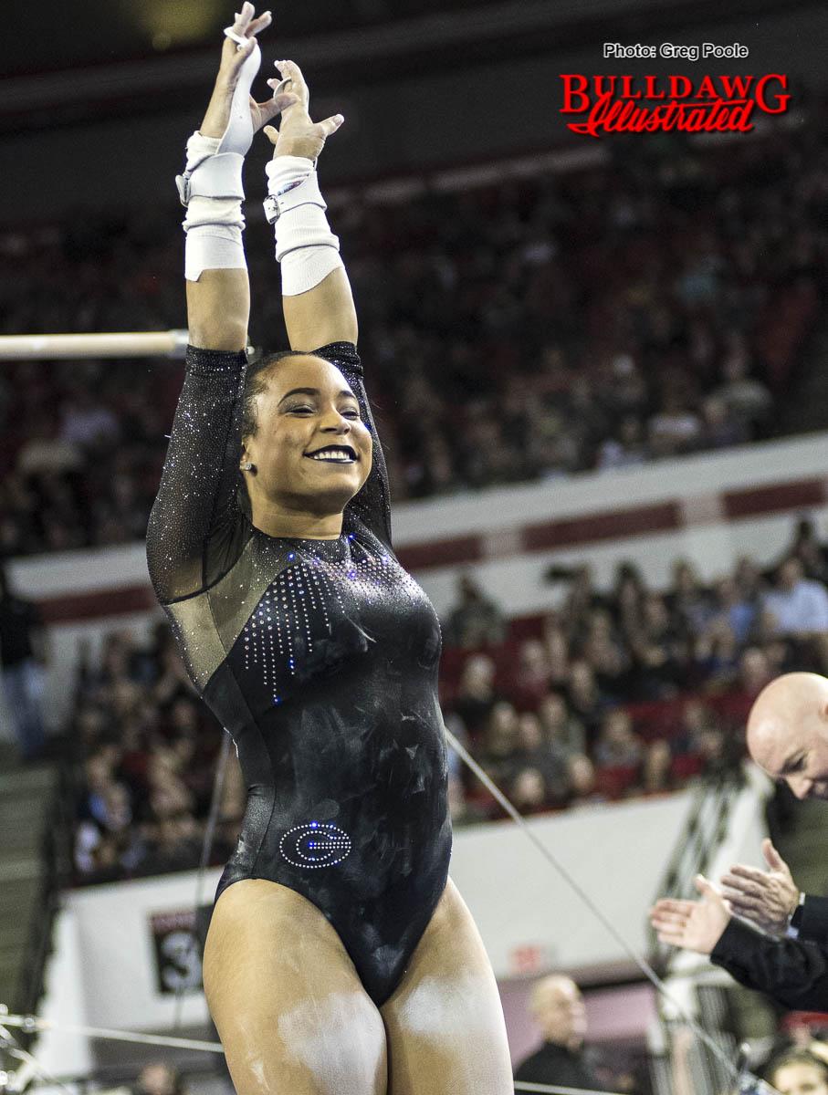 Lauren Johnson upon her dismount from bars vs. Arkansas