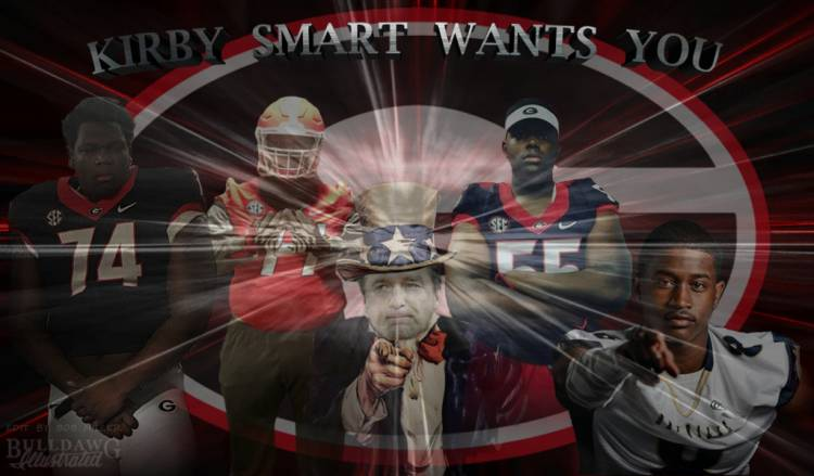 Isaiah Wilson, Justin Shaffer, Andrew Thomas, William Poole - Kirby Smart Wants You edit by Bob Miller