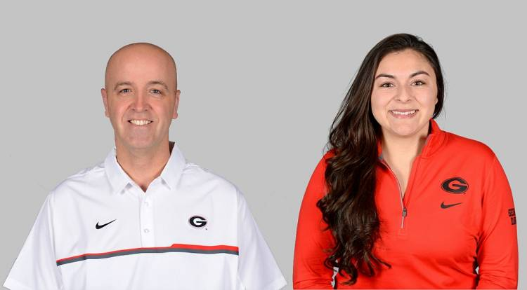 Aaron Benning (left) and Felicia Arriola (right) UGA volleyball assistant coaches (photos from Georgia Sports Communications)