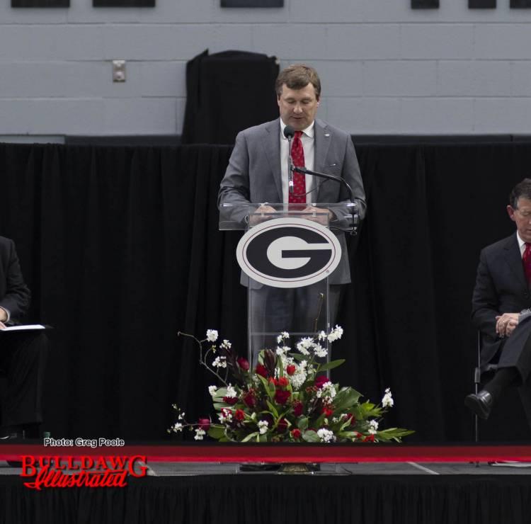 Kirby Smart speaks at UGA's Indoor Athletic Facility dedication on Feb. 14, 2017