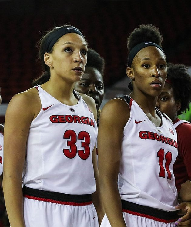Georgia's Mackenzie Engram (33) and Pachis Roberts (11), during the Bulldogs' game against Alabama, at Stegeman Coliseum in Athens, Ga., on Thursday, February 23, 2017 (Photo by Cory A. Cole)