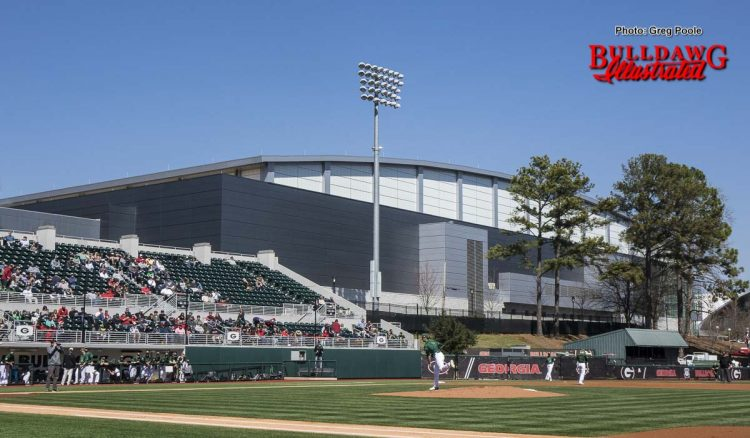 The indoor athletic facility as seen from first base