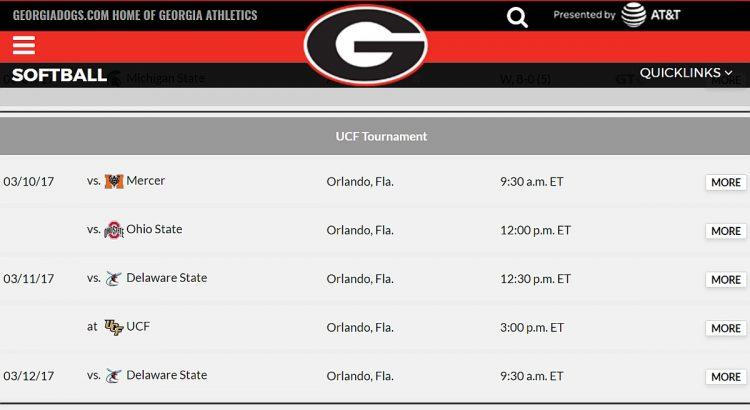 UGA softball schedule for 2017 UCF Tournament