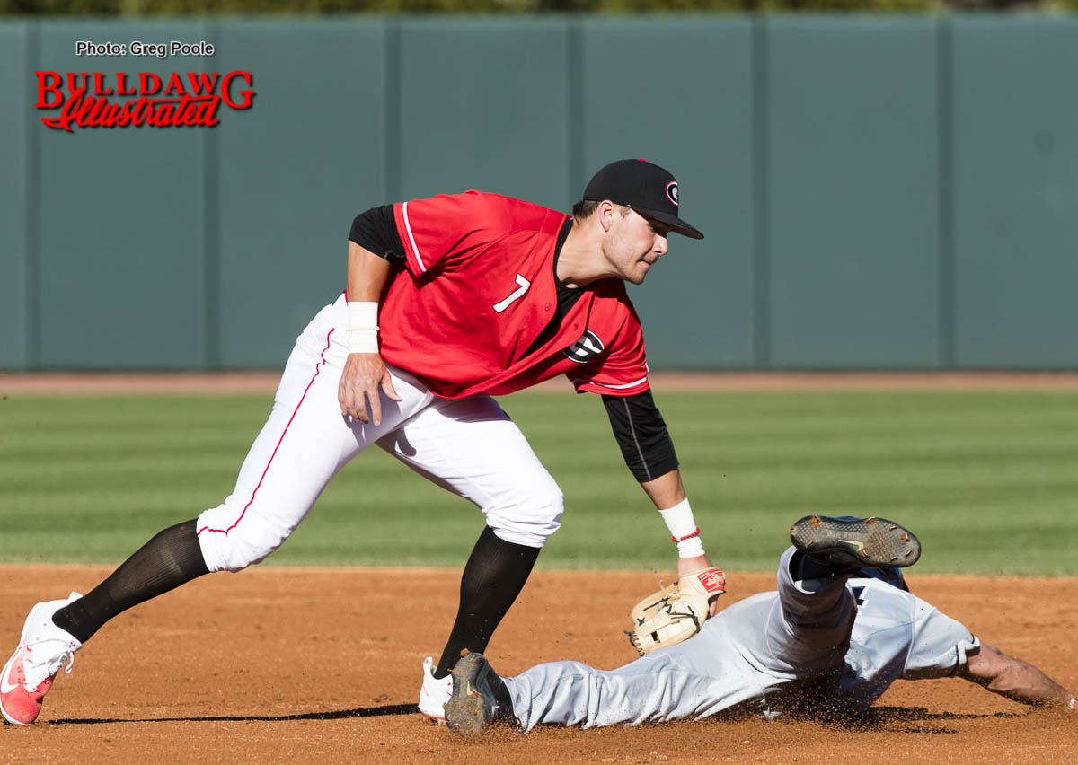 Cam Shepherd makes the tag at 2nd base