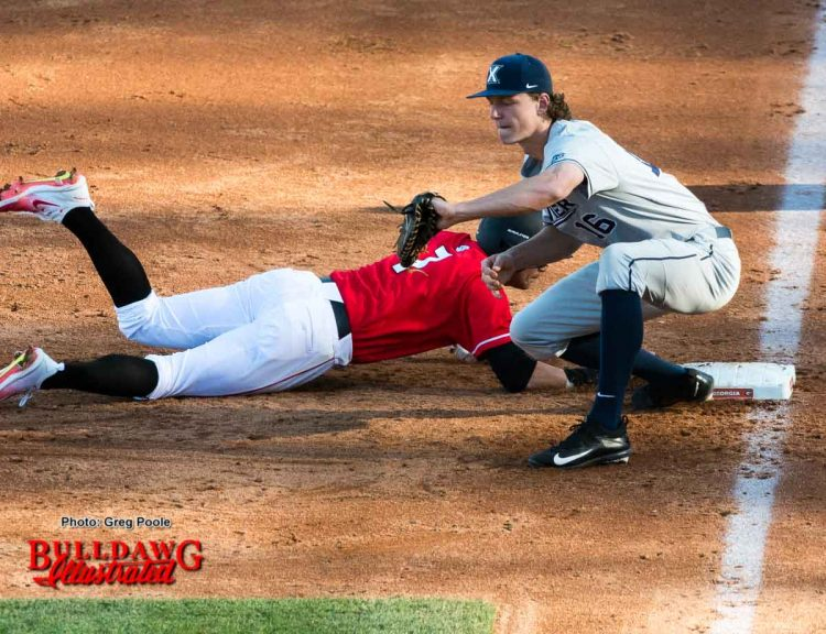 Cam Shepherd beats the pickoff attempt