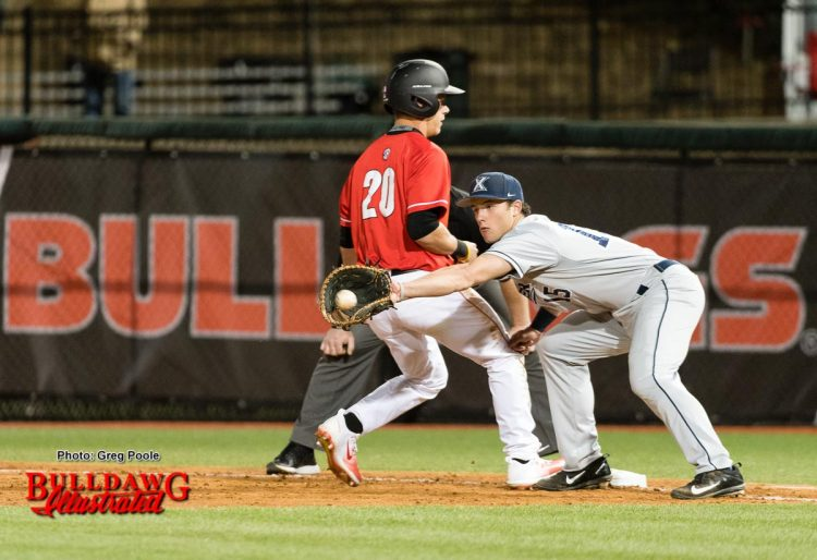 Will Campbell easily gets back to first to beat the pickoff attempt