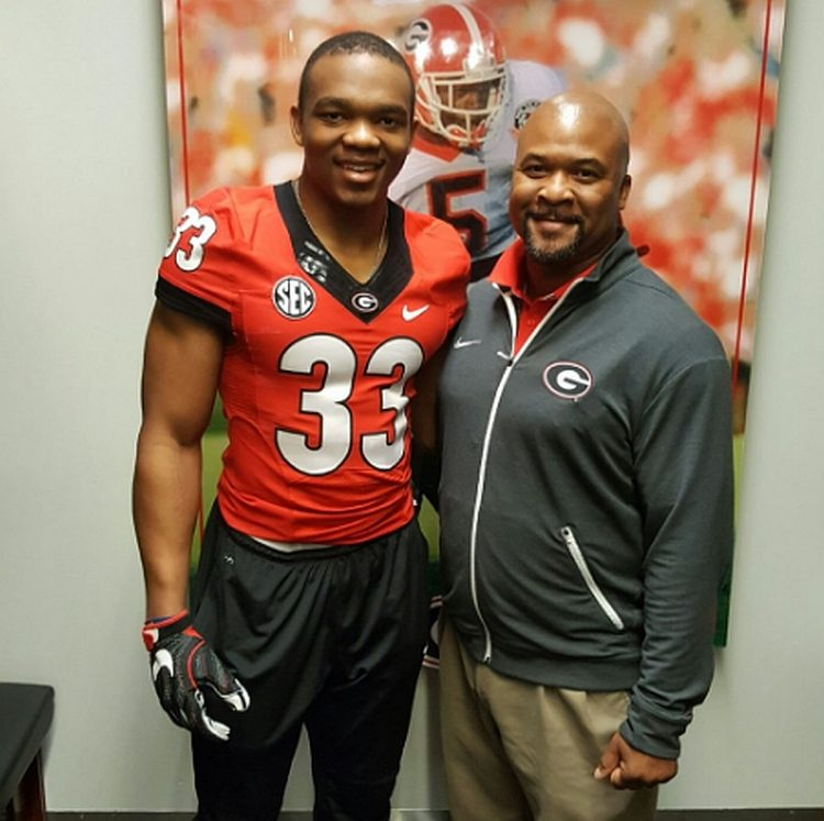 Master W. Teague III (left) UGA RB Coach Dell MCGee (right) (photo from Master W. Teague III - Twitter)