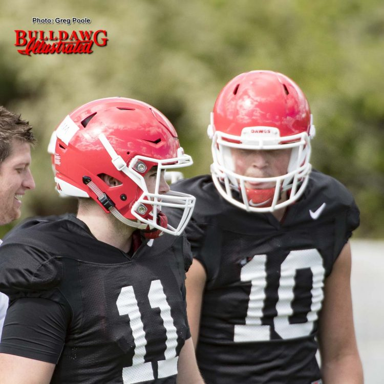 Jacob Eason (10) and Jake Fromm (11)