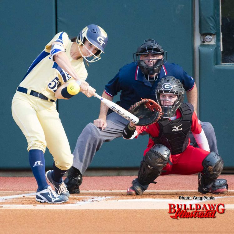 Maeve McGuire makes the stop as the tech player swings and misses