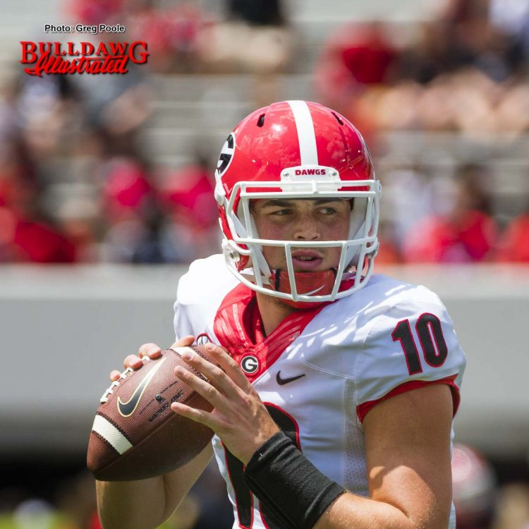 Jacob Eason scans the field during Georgia's 2017 G-Day spring game